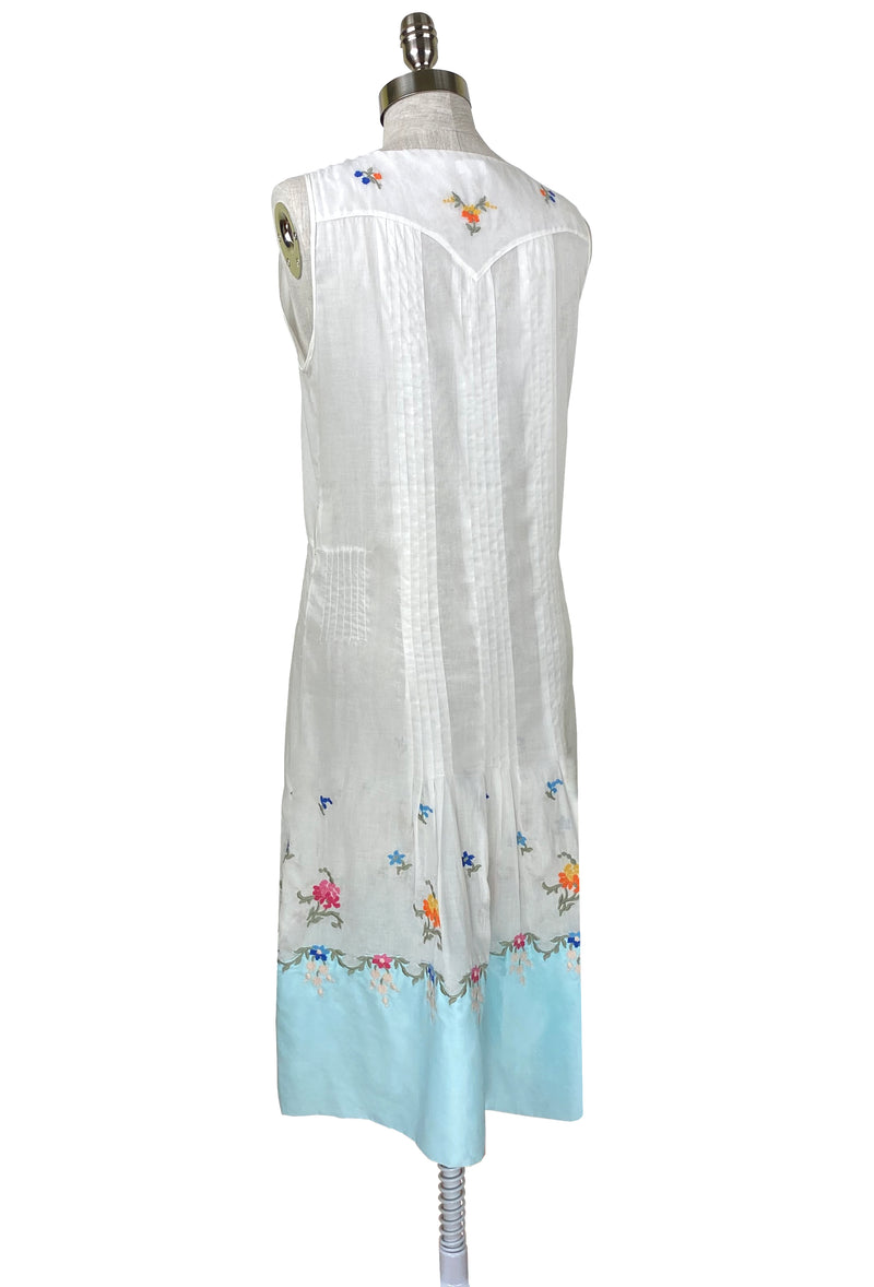 1920's Vintage Embroidered Silk Voile Queen Mary Dress - White