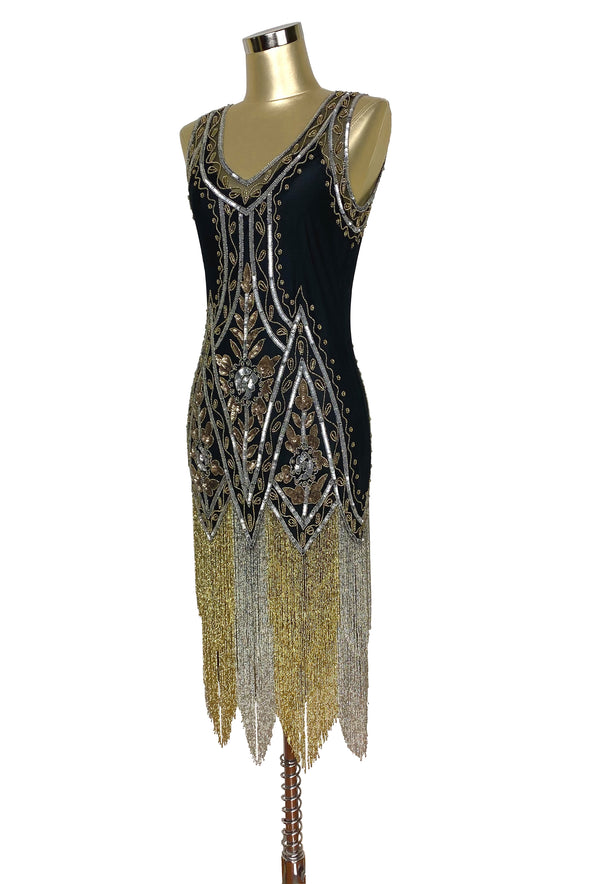 1920's Vintage Flapper Beaded Fringe Gatsby Gown - The Icon - Metallic - Black