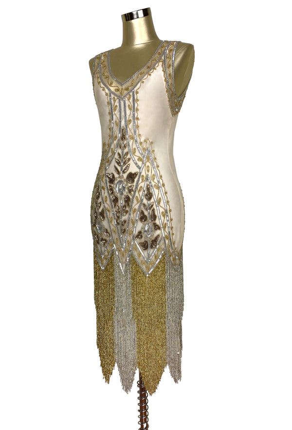 1920's Vintage Flapper Beaded Fringe Gatsby Gown - The Icon - Metallic - Champagne