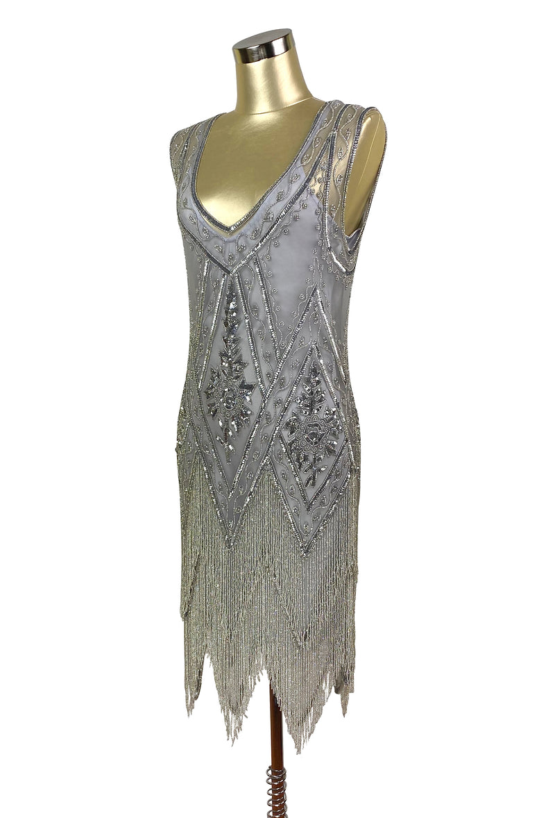 1920's Vintage Flapper Beaded Fringe Gatsby Gown - Cut Out Back - The Icon  - Silver