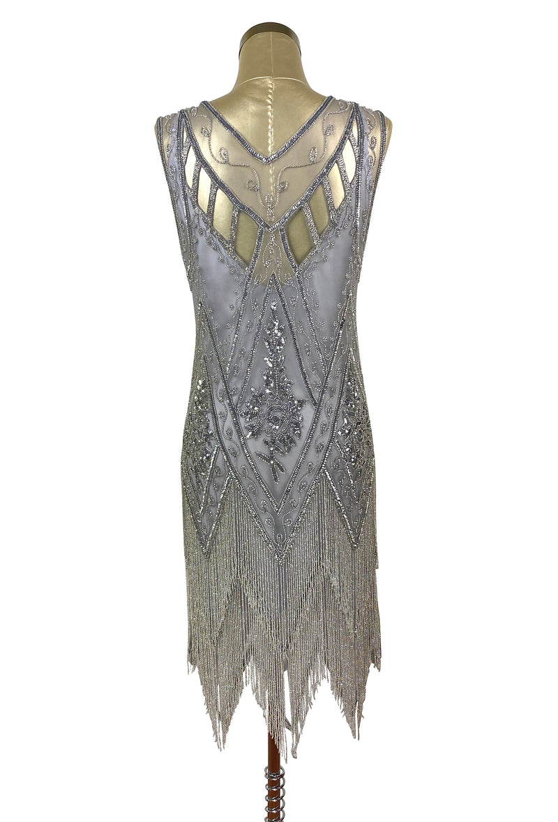 1920's Vintage Flapper Beaded Fringe Gatsby Gown - Cut Out Back - The Icon  - Silver - The Deco Haus
