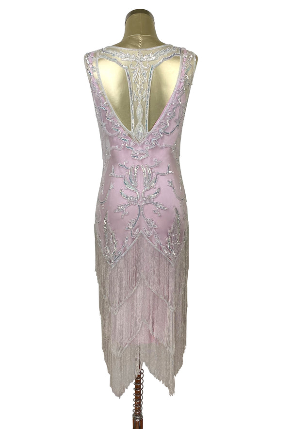 1920's Vintage Flapper Beaded Fringe Gatsby Gown - Peek-A-Boo Back - The Deco Pink Crystal - The Deco Haus
