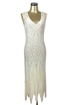 1920s Wedding Dresses- Art Deco Wedding Dress, Gatsby Wedding Dress 1920S VINTAGE FLAPPER BEADED FRINGE GATSBY GOWN - THE ICON - BONE - FULL-LENGTH $479.95 AT vintagedancer.com