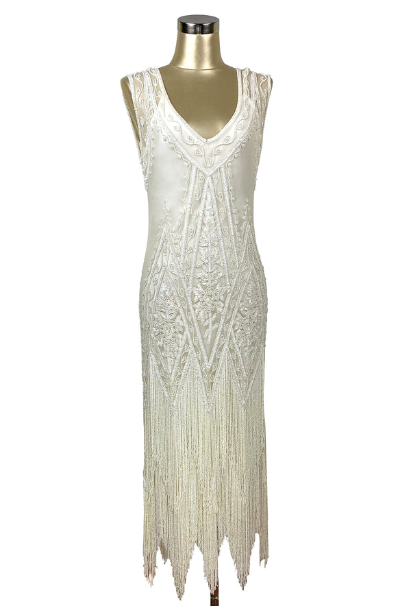 1920's Vintage Flapper Beaded Fringe Gatsby Gown - The Icon - Bone - Full-Length - The Deco Haus