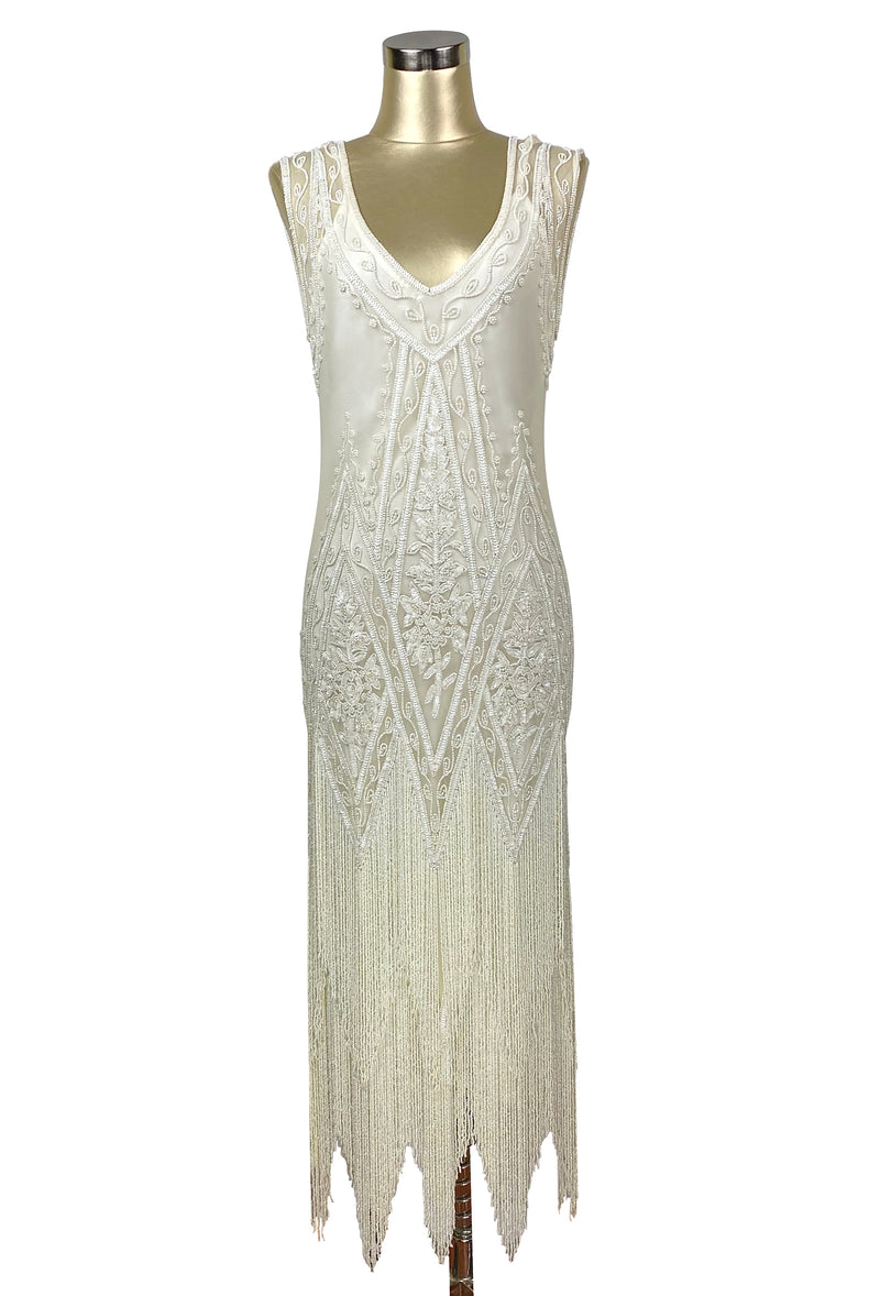1920's Vintage Flapper Beaded Fringe Gatsby Gown - The Icon - Bone - Full-Length