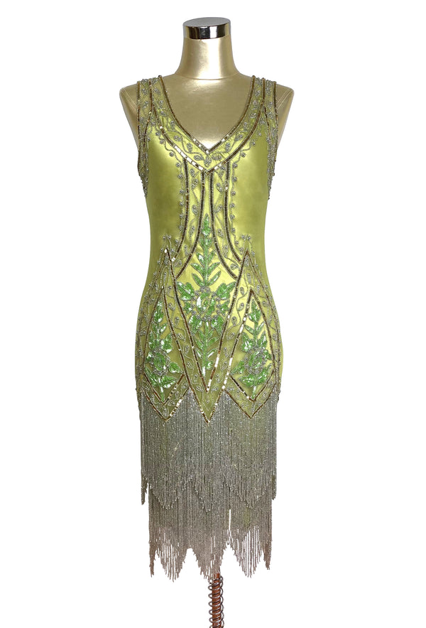 1920's Vintage Flapper Beaded Fringe Gatsby Gown - The Icon - Chartreuse Green