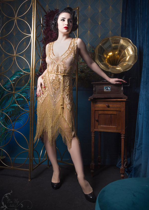 1920's Vintage Flapper Beaded Fringe Gatsby Gown - The Icon - Gold