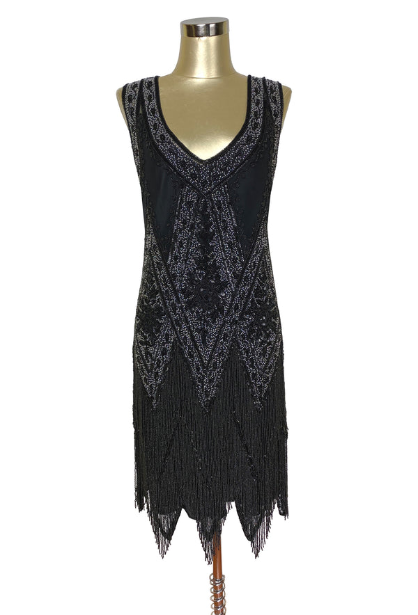 1920's Vintage Flapper Beaded Fringe Gatsby Gown - The Icon - Jet Crystal
