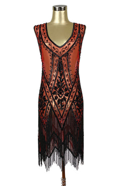 1920's Vintage Flapper Beaded Fringe Gatsby Gown - The Icon - Red Black - The Deco Haus