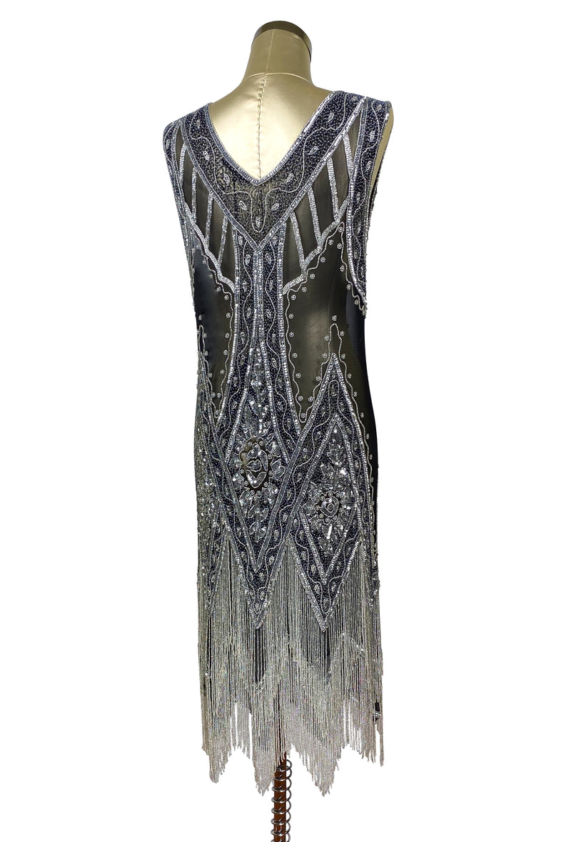 1920's Vintage Flapper Beaded Fringe Gatsby Gown - The Icon - Silver on Jet - The Deco Haus