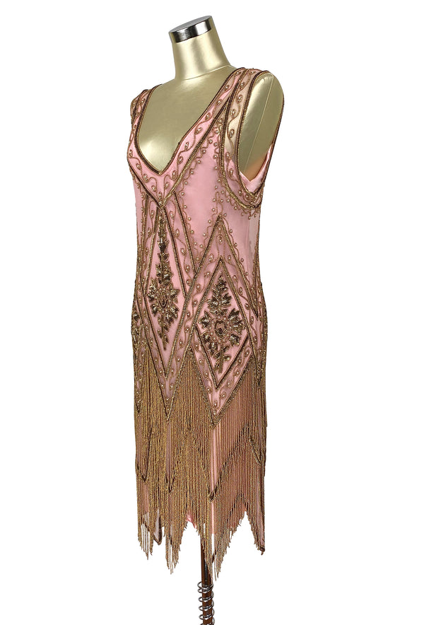 1920's Vintage Flapper Beaded Fringe Gatsby Party Gown - Cut Out Back - The Icon - Rose Gold - The Deco Haus