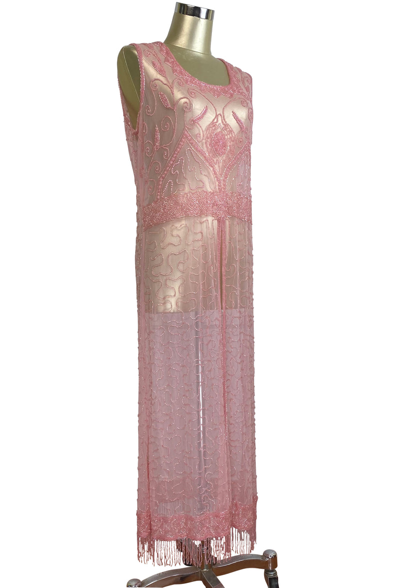1920's Vintage Panel Fringe Party Dress - The Titanic - Candy Pink