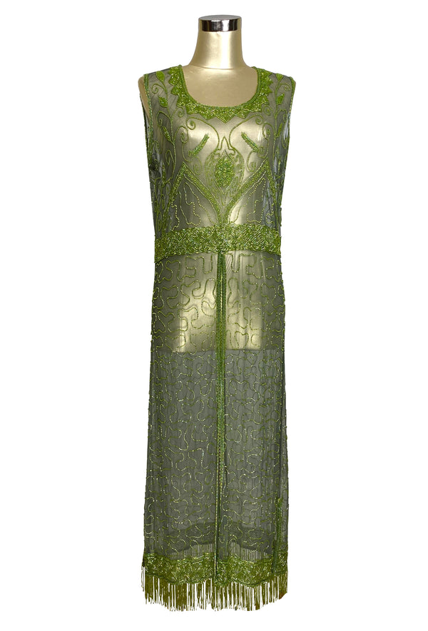 1920's Vintage Panel Fringe Party Dress - The Titanic - Chartreuse Green