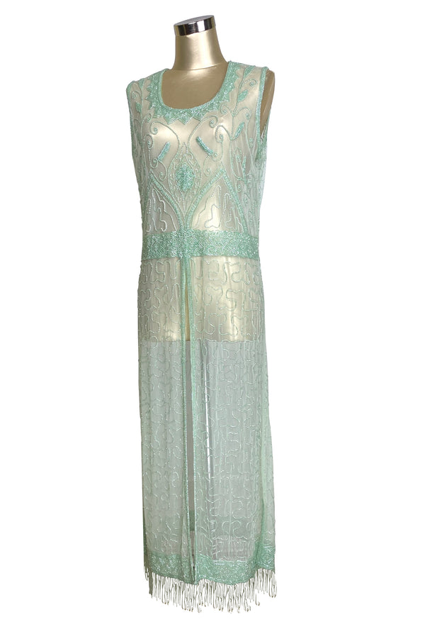 1920's Vintage Panel Fringe Party Dress - The Titanic - Mint Green
