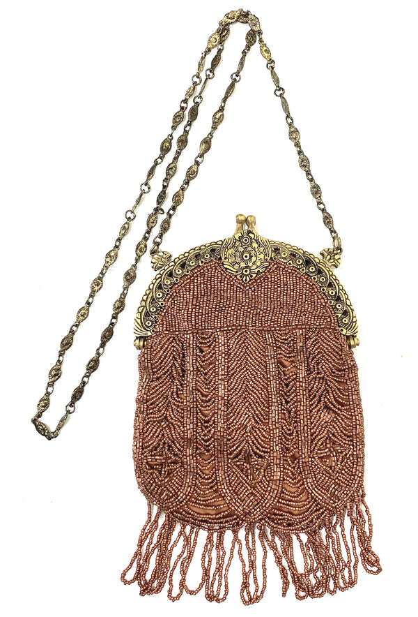1920's Antique Deco Inspired Gatsby Beaded Evening Bag - Matte Copper