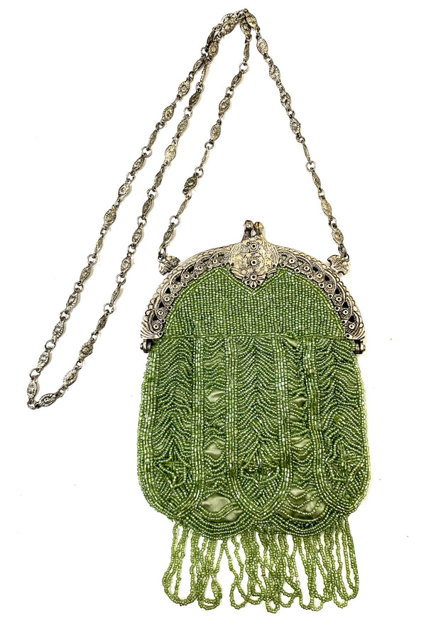 1920's Antique Deco Inspired Gatsby Beaded Evening Bag - Nile Green