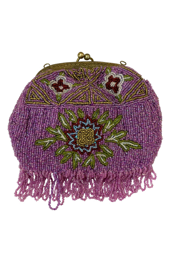 1920's Antique Deco Inspired Gatsby Beaded Evening Clutch Bag - Amethyst