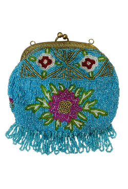 1920's Antique Deco Inspired Gatsby Beaded Evening Clutch Bag - Turquoise