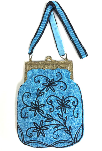 1920's Antique Inspired Gatsby Beaded Evening Purse - Turquoise Black - The Deco Haus