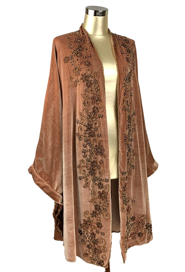 Limited Edition 1920's Art Deco Hand Beaded Velvet Opera Wrap - Chestnut Gold - The Deco Haus