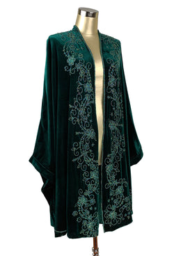1920s Coats, Furs, Jackets and Capes History 1920S ART DECO HAND BEADED VELVET OPERA WRAP - HUNTER GREEN $474.95 AT vintagedancer.com