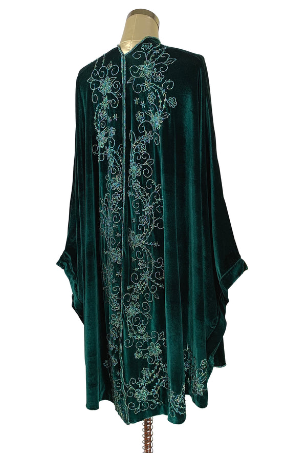 Limited Edition 1920's Art Deco Hand Beaded Velvet Opera Wrap - Hunter Green - The Deco Haus
