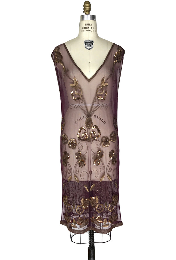 1920's Art Deco Panel Sheer Overlay Gossamer Deco Tabard Gown  - Mahogany Gold - The Deco Haus
