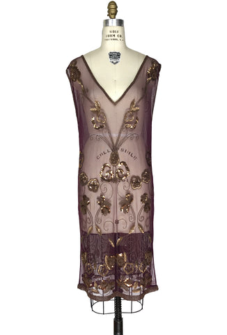1920's Art Deco Panel Sheer Overlay Gossamer Deco Tabard Gown  - Mahogany Gold