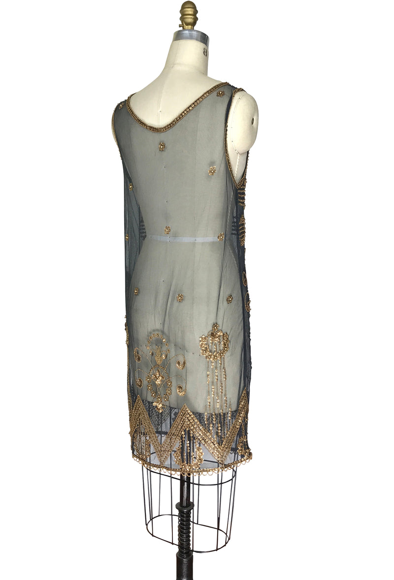 1920's Art Deco Panel Sheer Overlay Regency Deco Tabard Gown  - Gold on Charcoal Grey - The Deco Haus