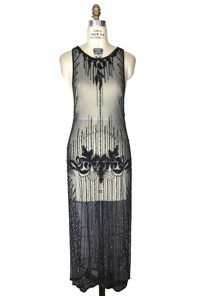 1920s Style Dresses, Flapper Dresses 1920s Art Deco Panel Tabard Gown - Le Mystère - Black Jet $269.95 AT vintagedancer.com