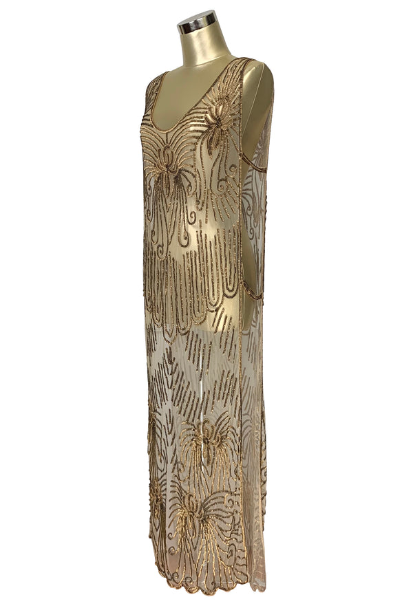 1920's Art Deco Panel Tabard Gown - The Vienna Nouveau - Antique Gold