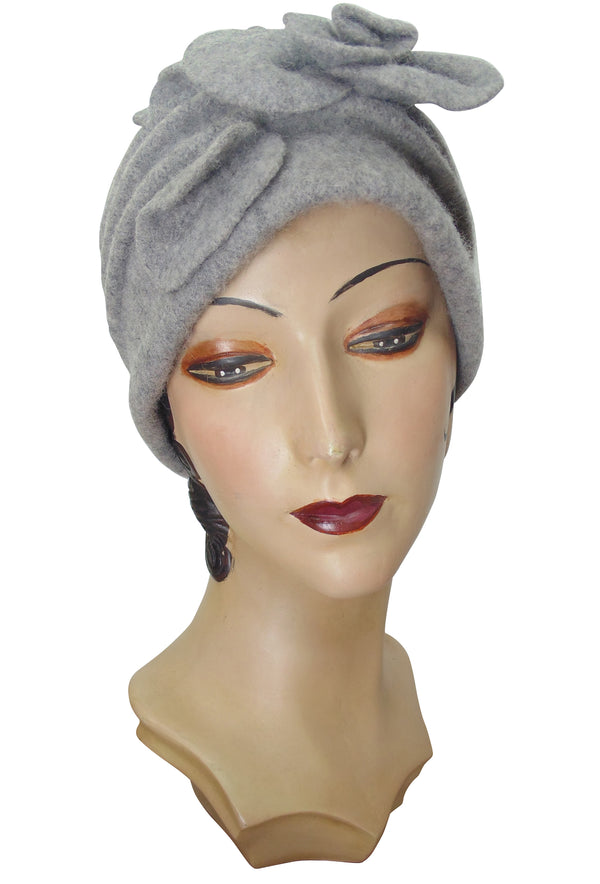 1920's Avant Garde Wool Cloche Hat - Sterling Grey