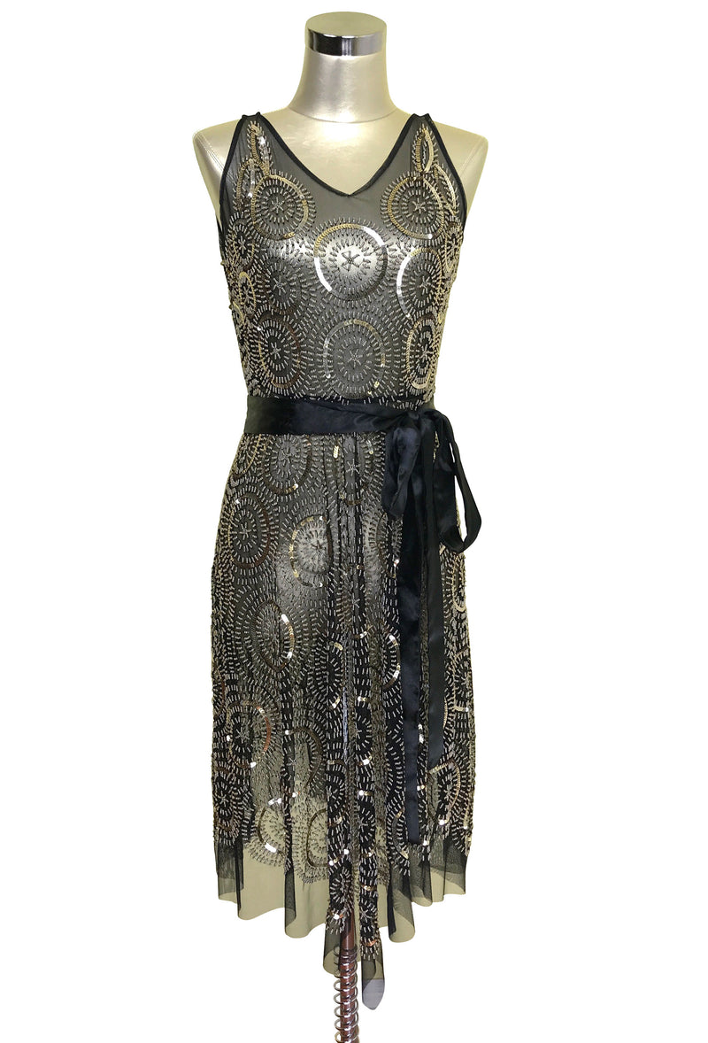 1920's Beaded Handkerchief Gatsby Dress - The Deco Dot - Black Gold - The Deco Haus