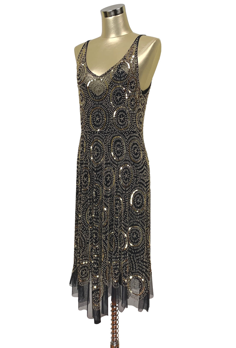 1920's Beaded Handkerchief Gatsby Dress - The Deco Dot - Black Gold
