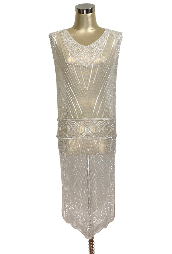1920's Beaded Vintage Bridal Deco Tabard Panel Gown - The Modernist - Crystalline White