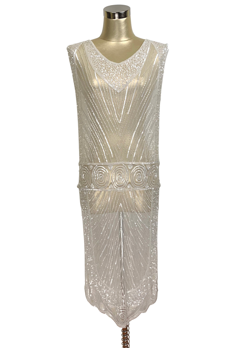 1920's Beaded Vintage Bridal Deco Tabard Panel Gown - The Modernist - Crystalline White - The Deco Haus