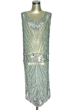 1920's Beaded Vintage Deco Tabard Panel Gown - The Modernist - Nile Green