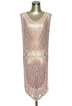 1920s Evening Gowns by Year 1920S BEADED VINTAGE DECO TABARD PANEL GOWN - THE MODERNIST - ROUGE CREME $279.95 AT vintagedancer.com