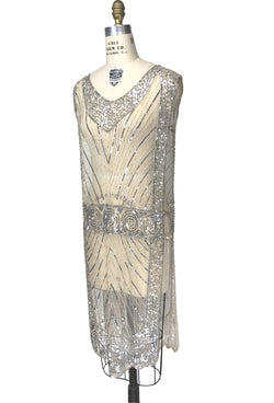 1920's Beaded Vintage Deco Tabard Panel Gown - The Modernist - Silver on Champagne Nude