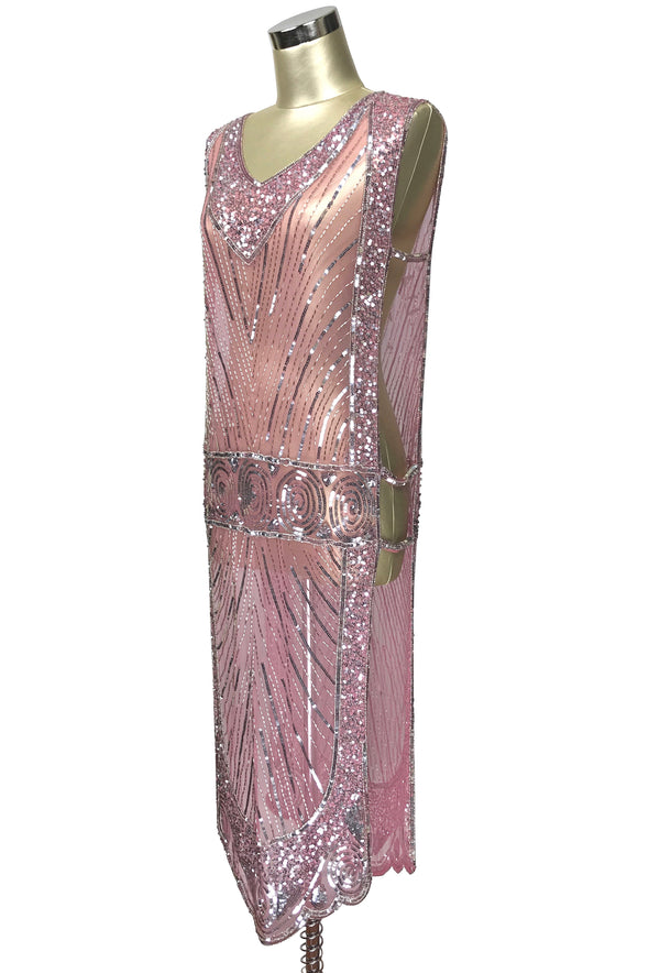 1920's Beaded Vintage Deco Tabard Panel Gown - The Modernist - Silver on Vintage Pink - The Deco Haus