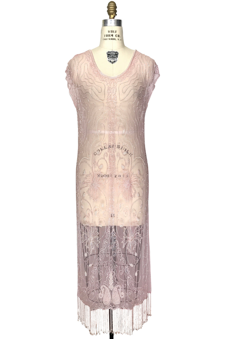 1920\'s Beaded Vintage Deco Tabard Panel Gown - The Musidora - Blush ...