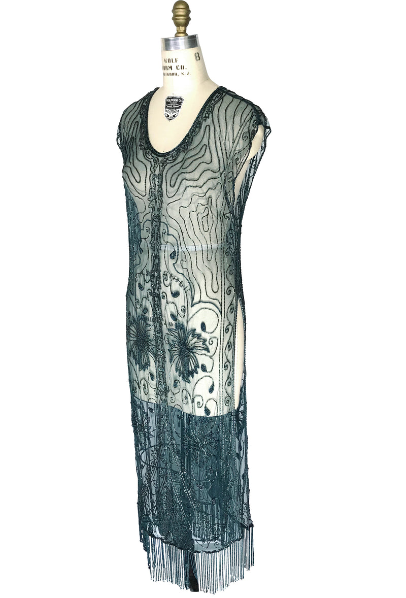1920's Beaded Vintage Deco Tabard Panel Gown - The Musidora - Midnight Teal Green - The Deco Haus