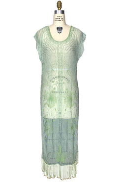 1920's Beaded Vintage Deco Tabard Panel Gown - The Musidora - Pistachio Green - The Deco Haus