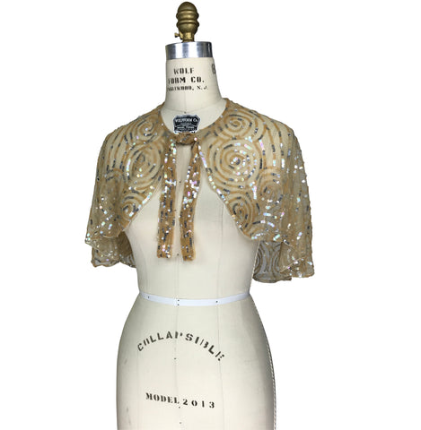 1920's Beaded Vintage Glamour Shawl Capelet - The Clara - Champagne Gold - The Deco Haus