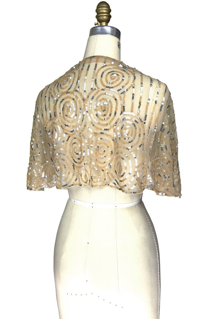 1920's Beaded Vintage Glamour Shawl Capelet - The Clara - Champagne Gold
