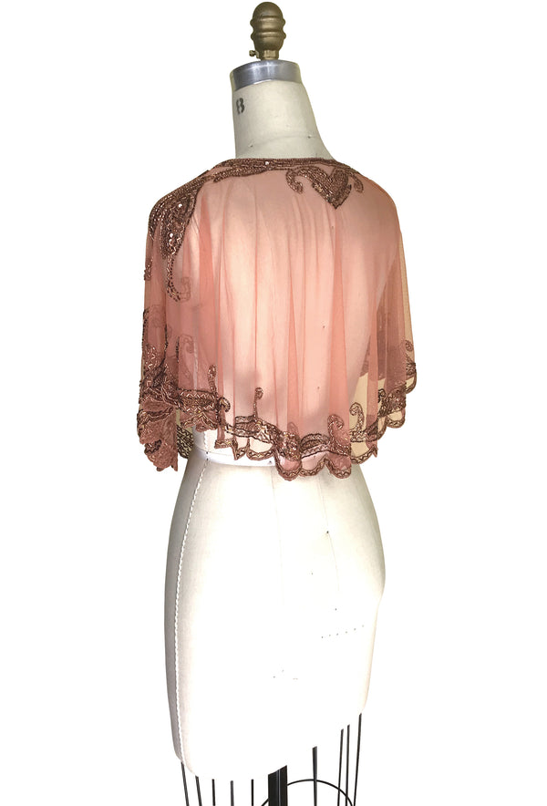 1920's Beaded Vintage Glamour Shawl Capelet - The Claudette -Rosé Copper - The Deco Haus