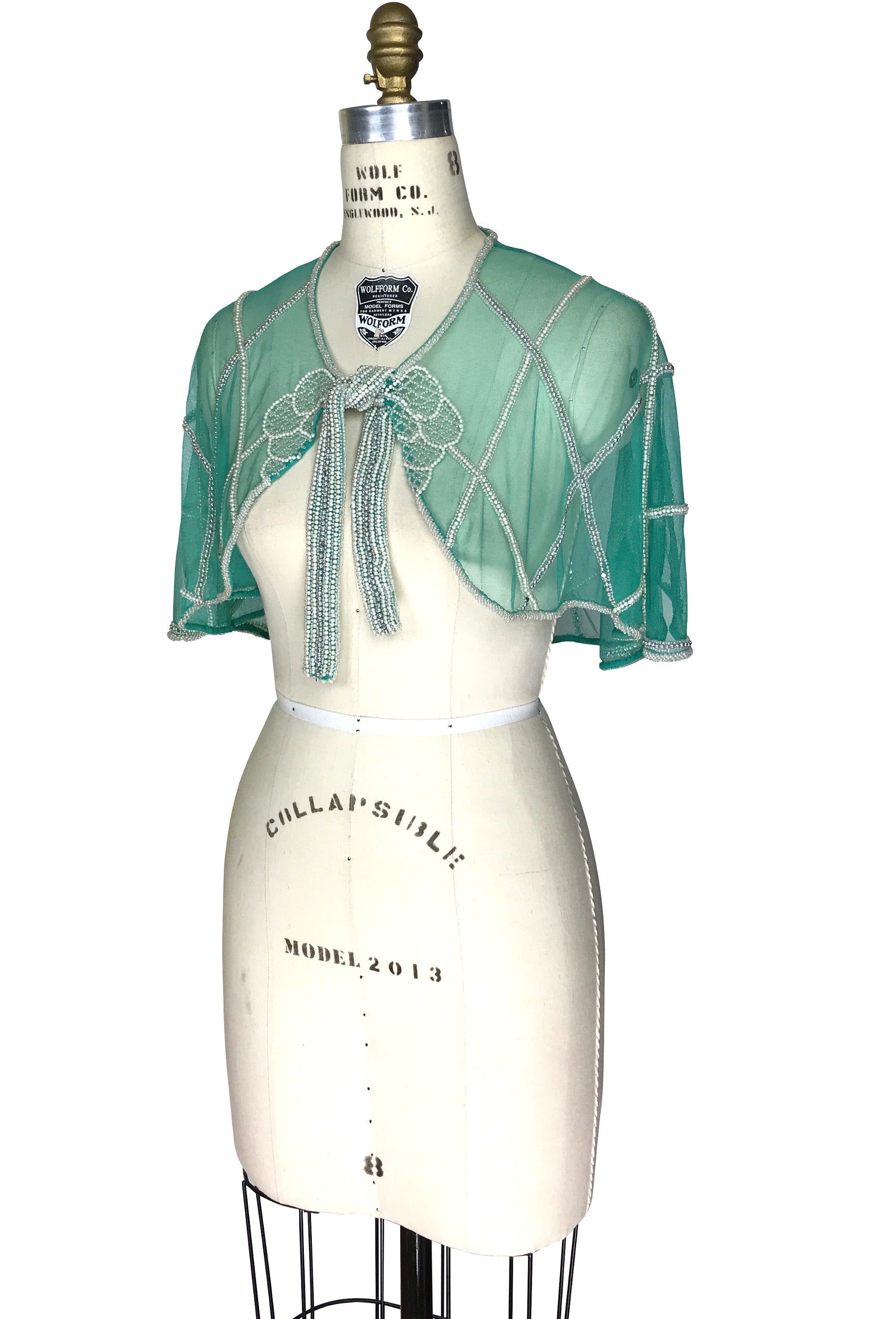 Superior 1920u0027s Beaded Vintage Glamour Shawl Capelet   The Maisie   Crème De Menthe  Green   The ...