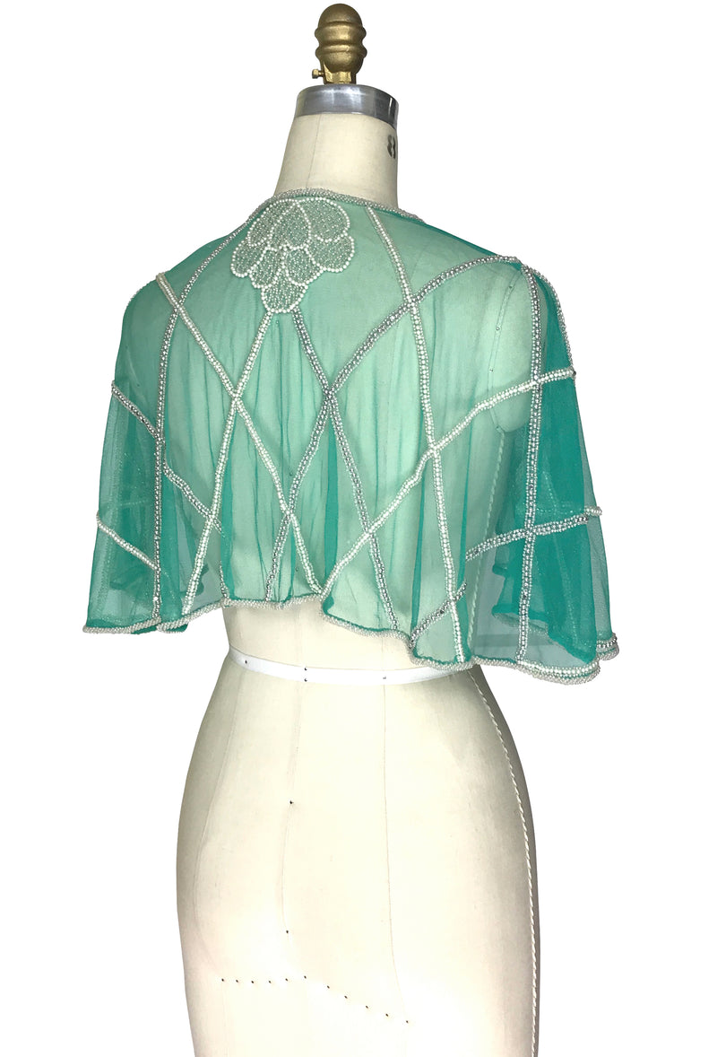 1920's Beaded Vintage Glamour Shawl Capelet - The Maisie - Crème de Menthe Green - The Deco Haus