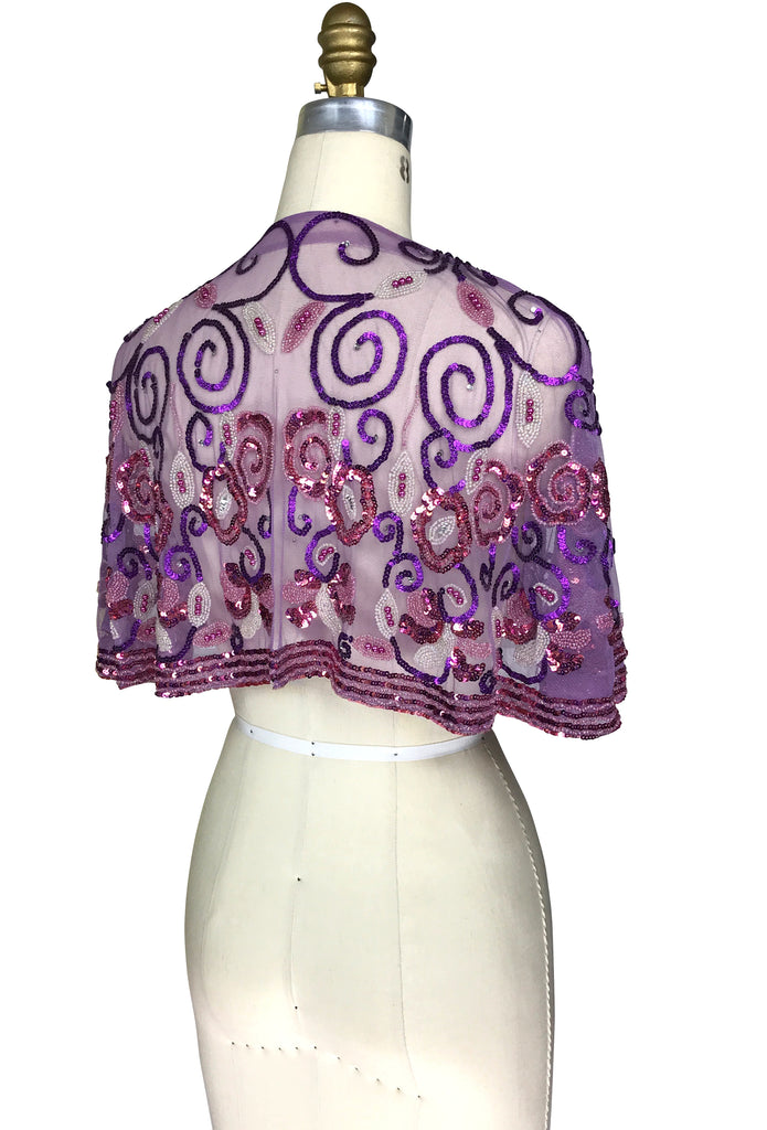 1920's Beaded Vintage Glamour Shawl Capelet - The Marcelle - Pink Purple - The Deco Haus
