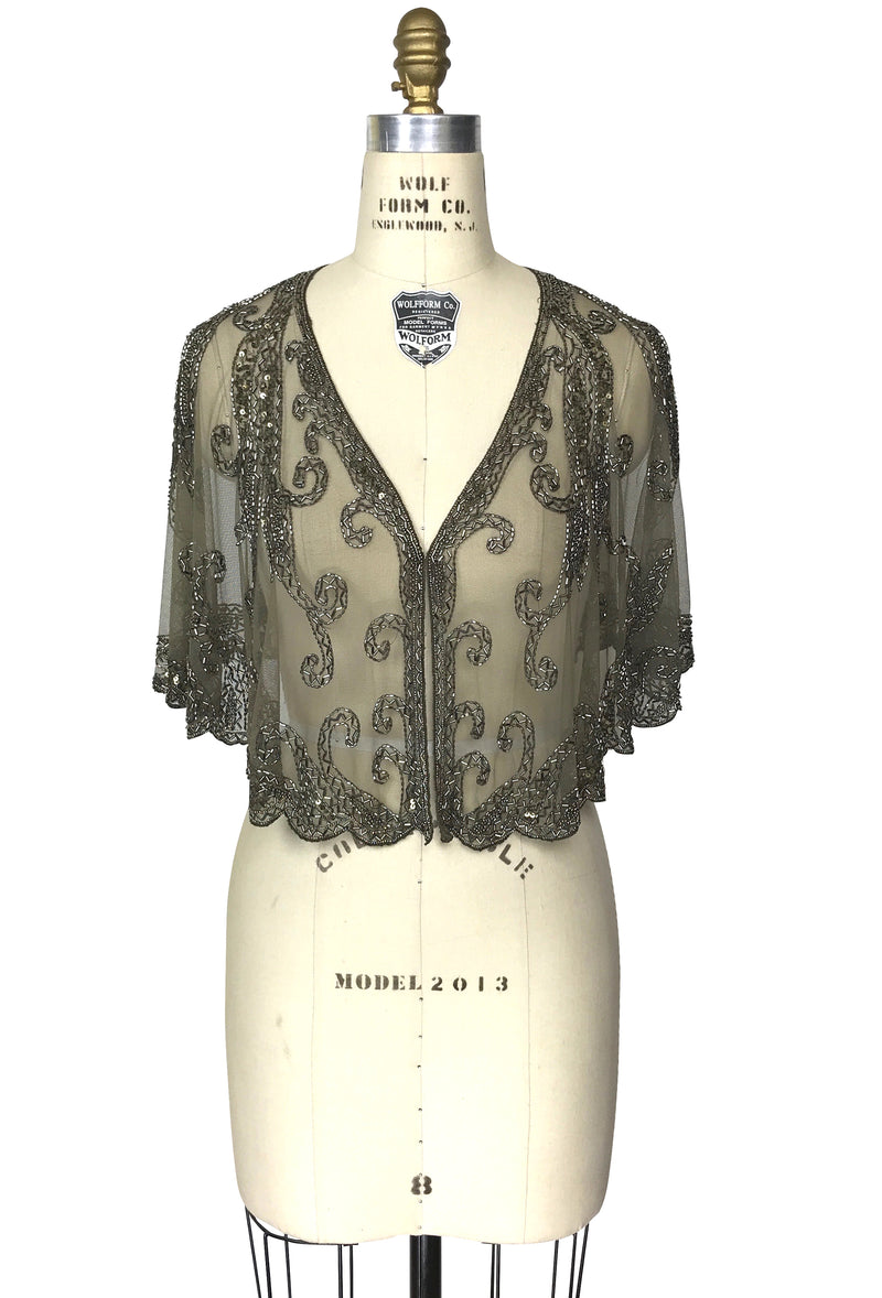 1920's Beaded Vintage Glamour Wedding Capelet - The Claudette - Aspen Green - The Deco Haus
